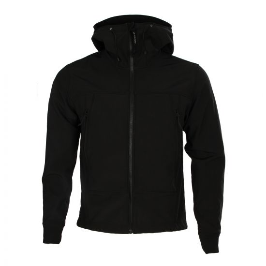 C.P Company Soft Shell Hooded Jacket in Black