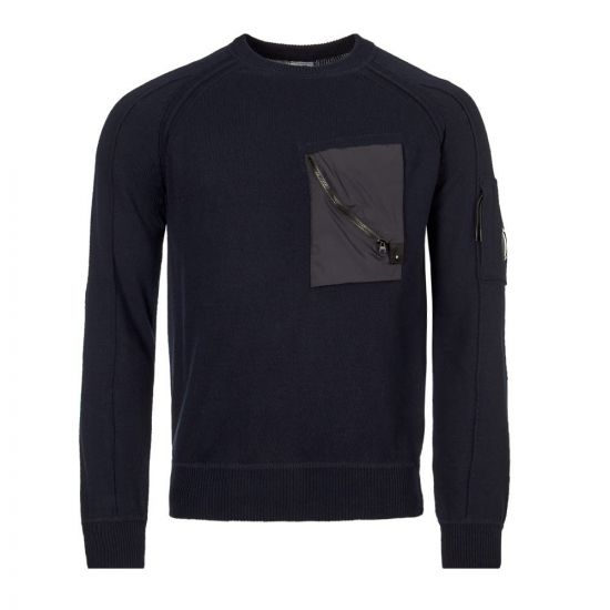 cp company jumper chest pocket MKN083A 005367M 888 navy