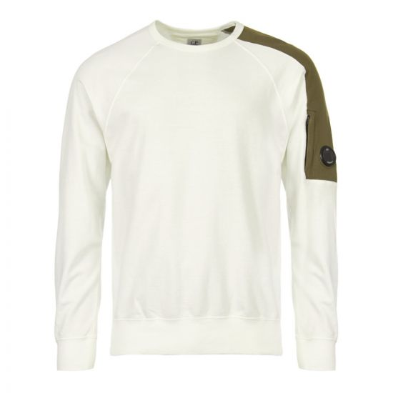 cp company sweatshirt light fleece CMSS063A 005365W 103 white / green