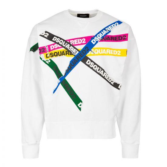 DSquared Sweatshirt S74GU0337 S25030 100 In White Tape Logo