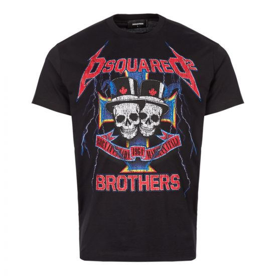 DSquared T-Shirt Logo S71GD0802 S228844 900 in Black Skull Brothers