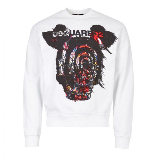 DSquared Sweatshirt Logo S71GU0312 S25305 100 White Graphic Aphrodite