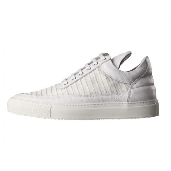 White Mesh Striped Low Top Trainers
