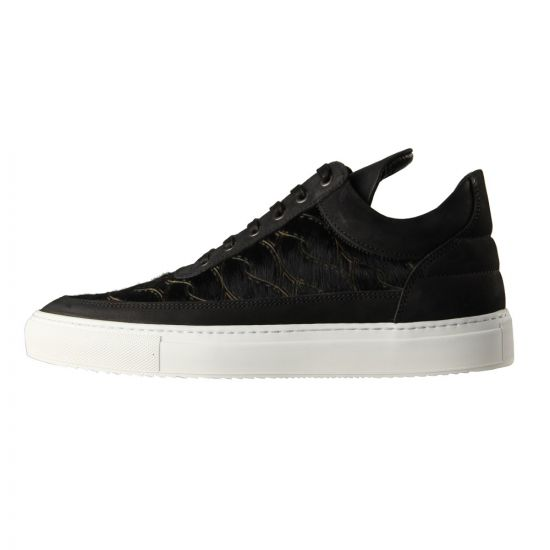 Black Trainers - Low Top Pony Woven