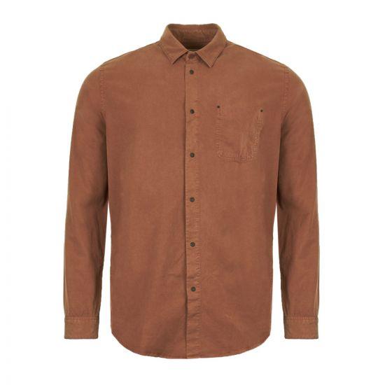 Folk Stitch Pocket Shirt FP5108S Rust