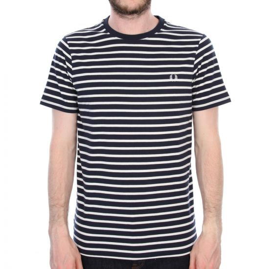 Fred Perry Breton Stripe Tee in Navy