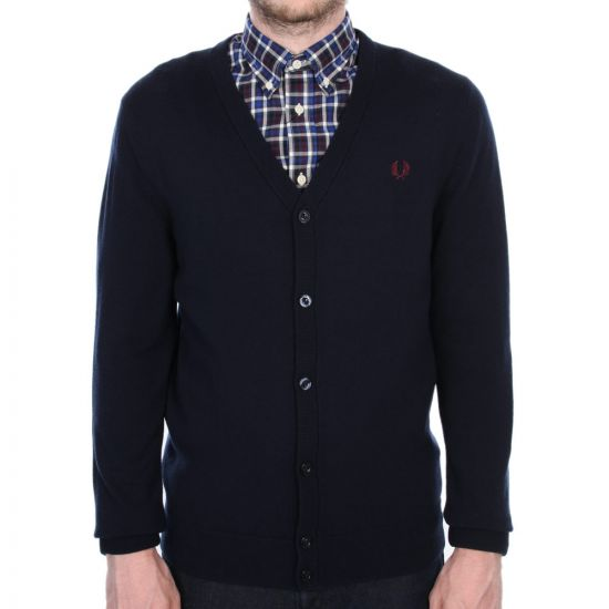 Fred Perry Cardigan Tipped in Navy