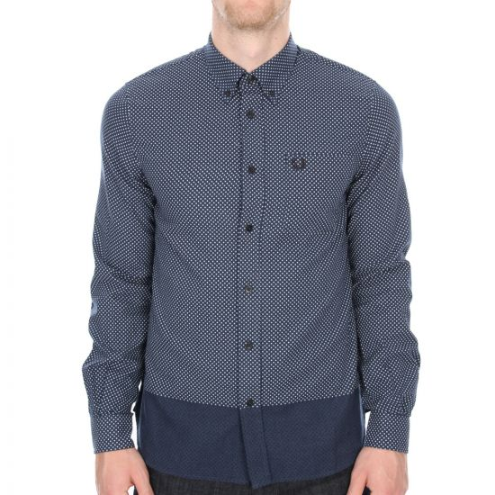 Fred Perry Degraded Polka Dot Shirt in Midnight Blue
