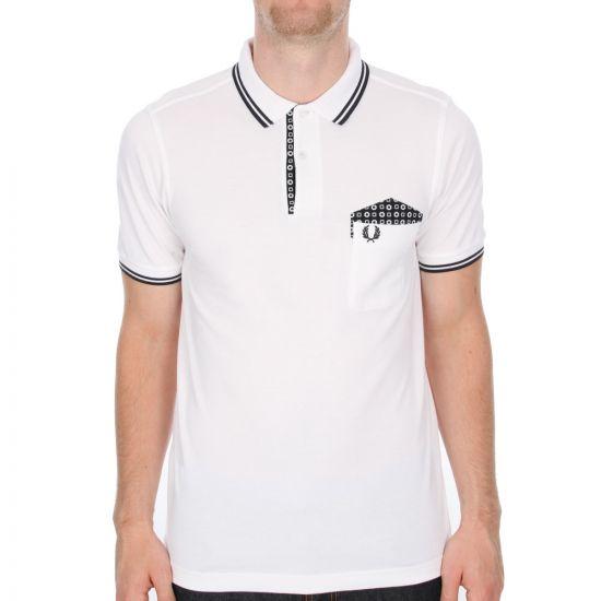Fred Perry X Drakes Medallion Trim Polo Shirt in White