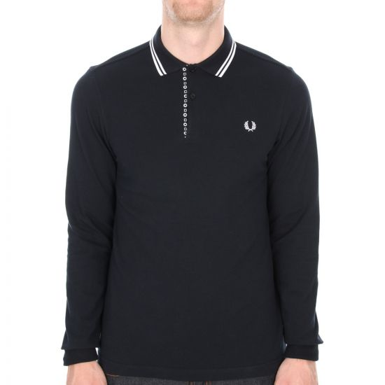 Fred Perry X Drakes Medallion Trim Long Sleeved Polo
