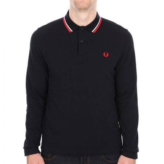 Fred Perry Slim Fit Long Sleeve Tipped Polo in Navy