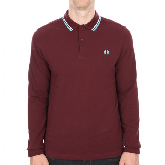 Fred Perry Slim Fit Long Sleeve Tipped Polo in Mahogany