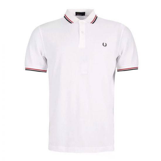fred perry polo slim fit twin tipped white m3600