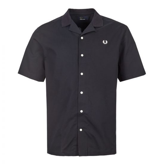 Fred Perry Short Sleeve Shirt M6535 608 In Navy