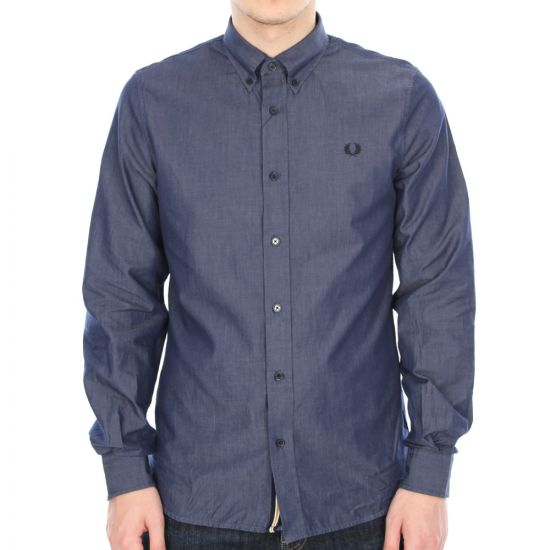 Fred Perry Shirt Indigo Concealed Placket