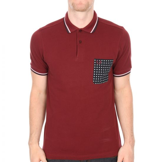 Fred Perry X Drakes Floral Pocket Polo Shirt in Burgundy.