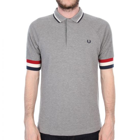 Fred Perry for Bradley Wiggins Bomber Cuff Pique Polo - Steel Grey
