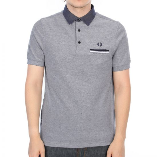 Fred Perry Slim Fit  Woven Collar Polo Shirt in Dark Carbon