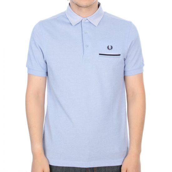 Fred Perry Slim Fit Woven Collar Polo Shirt in Light Smoke