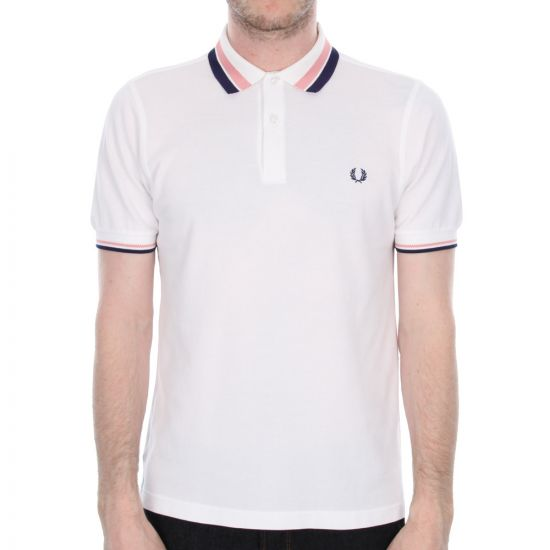 Fred Perry White Oxford Tipped Polo Shirt