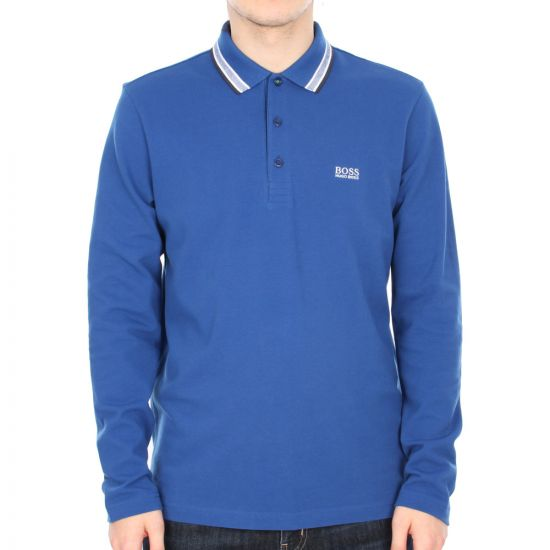 Long Sleeve Polo Plisy - Royal Blue