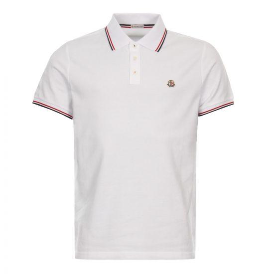 Moncler Tricolour Tipped Polo 83456 00 84556 001 White