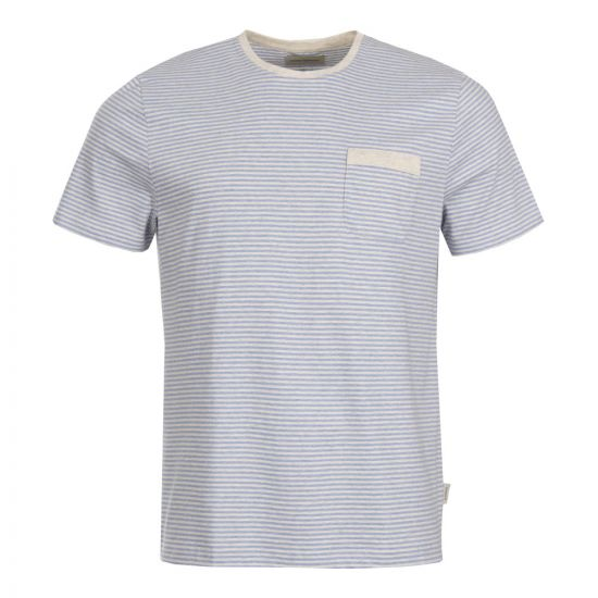 Oliver Spencer Envelope Pocket T-Shirt OSMK461A DAN01SKY in Sky Blue Stripe