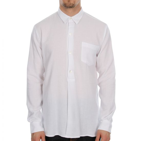 Our Legacy Fine Overshirt in White Giro Inglese