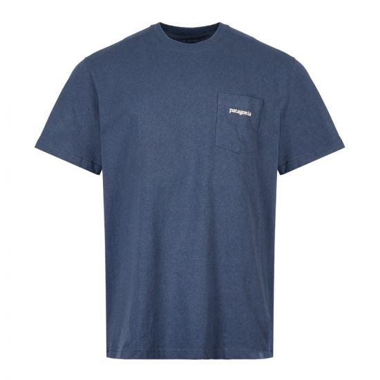 Patagonia T-Shirt Line Logo Ridge Pocket 38441 DLMB Dolomite Blue