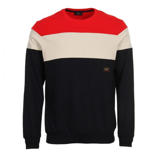 Paul & Shark Block Stripe Sweatshirt A18P1803 495 Red/Cream/Navy