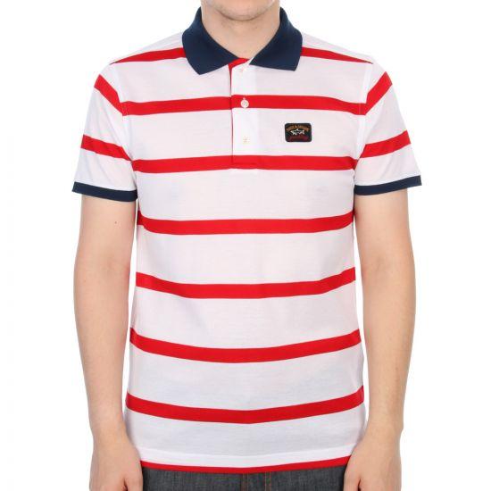 Paul & Shark Short Sleeved Polo Shirt in Red Stripe