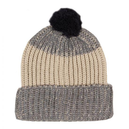 Paul Smith Alpaca & Wool Blend Striped Bobble Hat in Oat