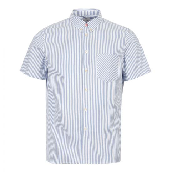 Paul Smith Short Sleeve Shirt M2R 417R B20211 42 Blue / White