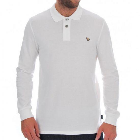 paul smith long sleeve polo shirt white 115l/355