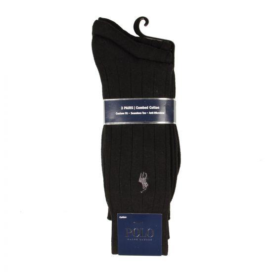 Ralph Lauren Polo 3 Pack Socks in Black