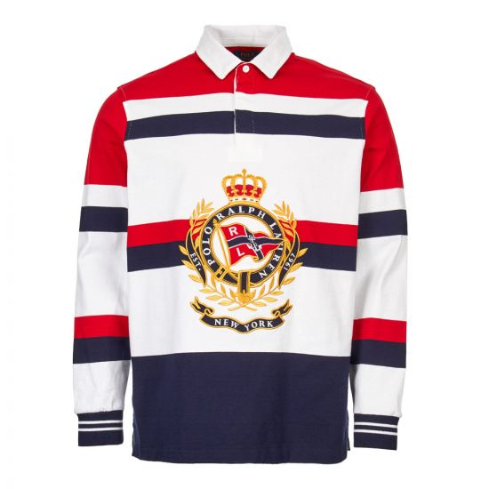 Ralph Lauren Rugby Shirt 710741094 001 in White/Red/Navy