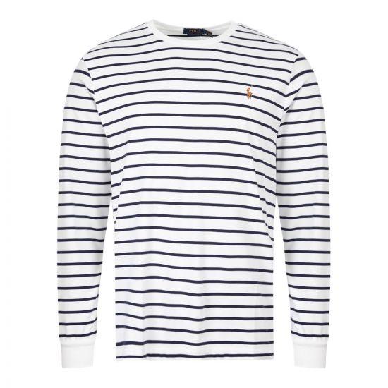 Ralph Lauren Long Sleeve T-Shirt Stripe 710760122 002 White / Navy