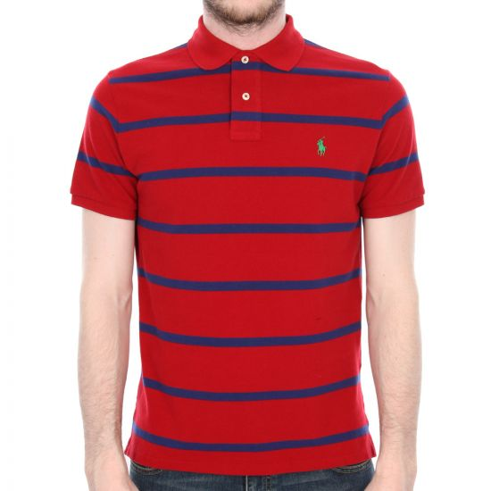 ralph lauren striped polo in pioneer red.