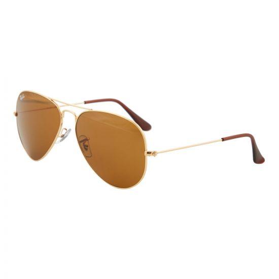 ray ban aviator sunglasses ORB3025 001 3358 gold / brown