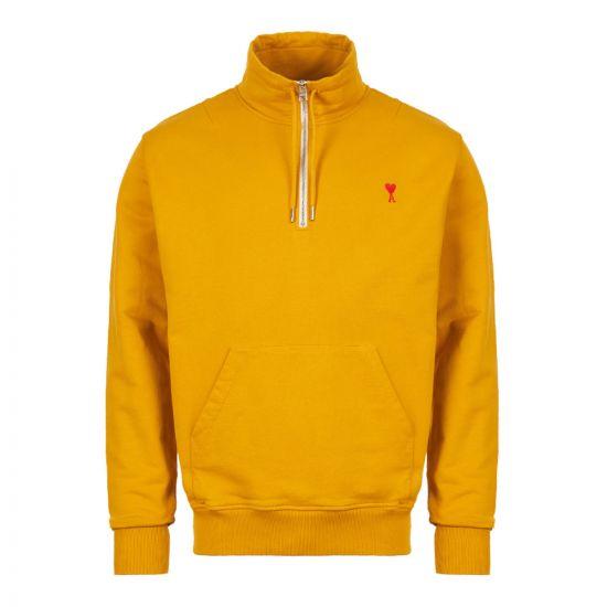 ami half-zip sweatshirt E19J006 732 700 yellow