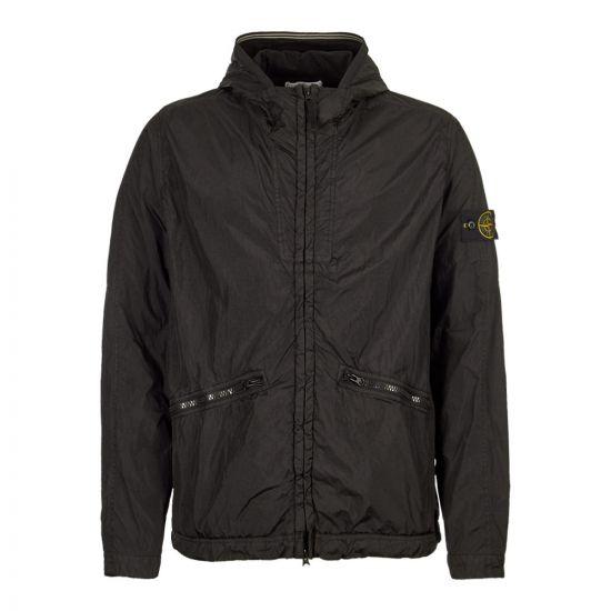 stone island jacket crinkle reps black