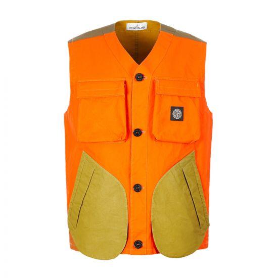 Stone Island Tela Placcata Gilet 7115G0555|V0032 Orange At Aphrodite Clothing