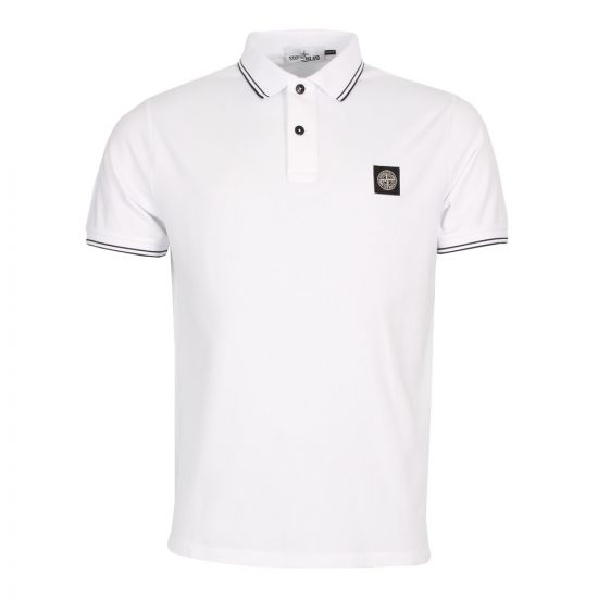 stone island polo shirt in white