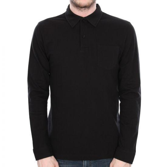 sunspel black riviera long sleeved polo shirt