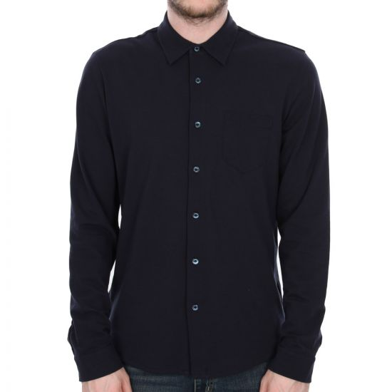 sunspel long sleeve pique shirt navy 1213/188