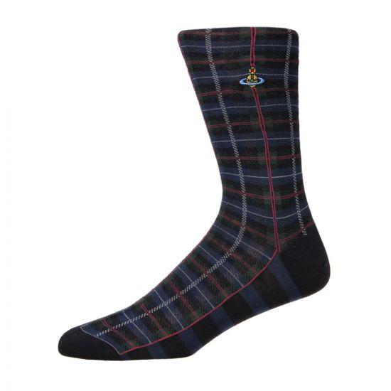 Vivienne Westwood Tartan Check Sock | OV9418 P33 0001 Navy