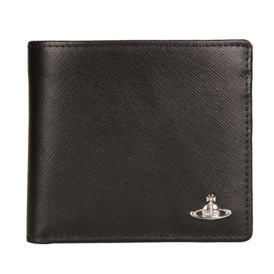 Vivienne Westwood Saffiano Leather Coin Holder Wallet in Black