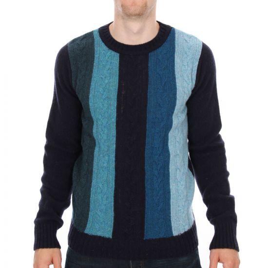 ymc crew neck jumper in blue