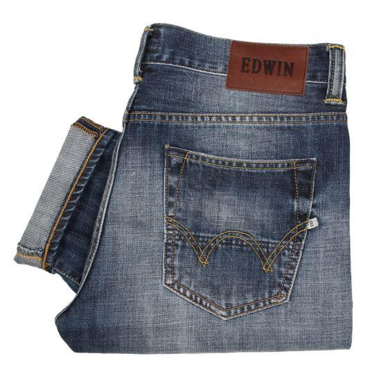 edwin ed-80 jeans slim tapered dark blue mid rise i0004539