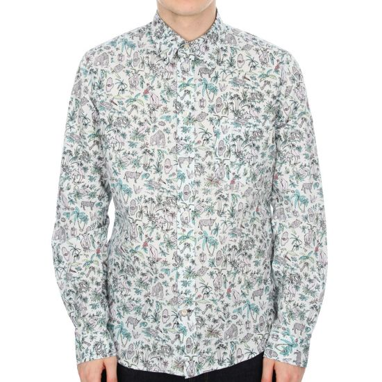 Paul Smith Jeans Long Sleeved Shirt - White Patterned